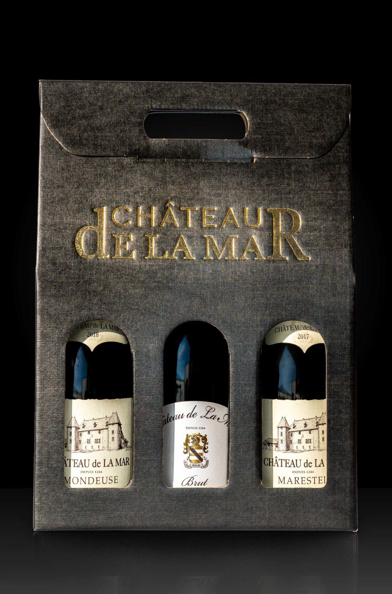 Coffret 3 Bouteilles Chateau de la Mar - Mondeuse de Savoie, Cremant de Savoie, Marestel Vin Blanc